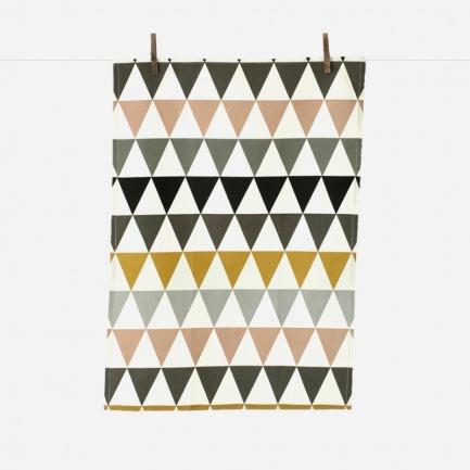 花色三角几何花纹茶巾